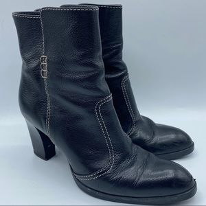 Tods Sz 8 Black Ankle Boots Almond Stitch